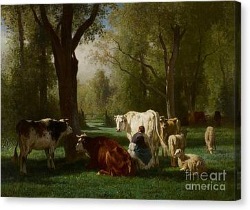 Cow Canvas Print - Landscape With Cattle And Sheep by Constant Emile Troyon