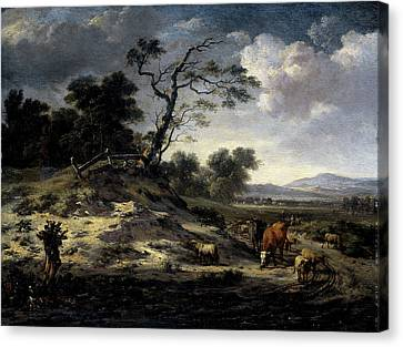 Country Roads Canvas Print - Landscape With Cows On A Country Road, Jan Wijnants by Litz Collection