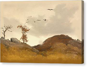 Landscape With Crows Canvas Print by Karl Friedrich Lessing