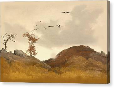 Landscape With Crows Canvas Print