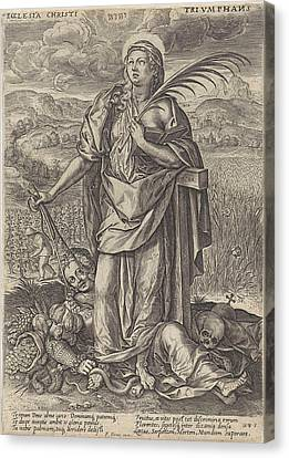 Landscape With Faith, Behind Her The Cross Canvas Print by Johannes Wierix