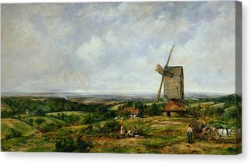 Horse And Cart Canvas Print - Landscape With Figures By A Windmill by Frederick Waters Watts