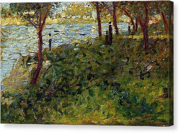 Landscape With Figures Canvas Print by Georges Seurat