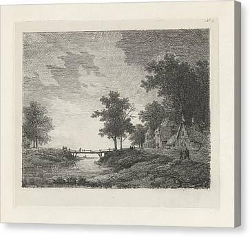City Scape Canvas Print - Landscape With Figures Near A Bridge, Print Maker Remigius by Remigius Adrianus Haanen