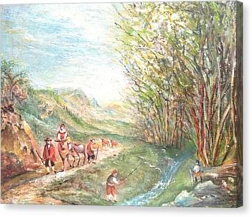 Canvas Print featuring the painting Landscape With Fisherman by Egidio Graziani