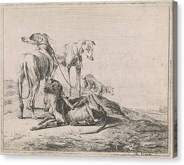 Greyhound Canvas Print - Landscape With Four Greyhounds, Jacob De Jonckheer by Jacob De Jonckheer