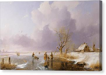Landscape With Frozen Canal Canvas Print by Remigius van Haanen