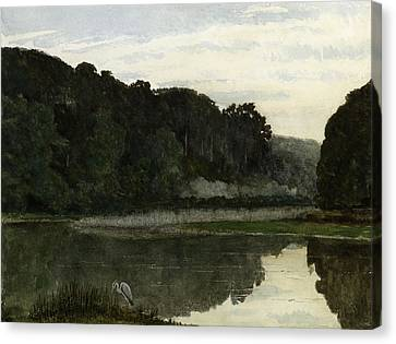 Landscape With Heron Canvas Print