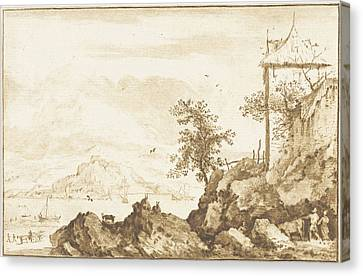 Landscape With In The Background The River Rhine Canvas Print by Jurriaan Cootwijck