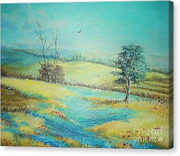 Canvas Print featuring the painting Landscape With Lavanda  by Sorin Apostolescu