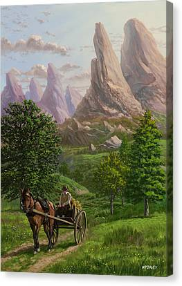 Landscape With Man Driving Horse And Cart Canvas Print