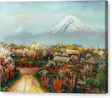Landscape With Mountain Ararat From The Village Aintap Canvas Print