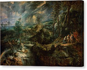 Landscape With Philemon And Baucis C.1625 Oil On Panel Canvas Print by Peter Paul Rubens