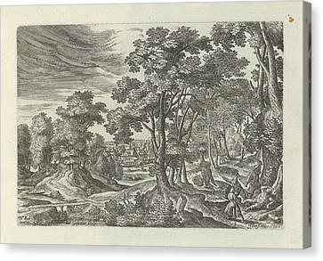Landscape With Robbery Of The Traveler, Julius Goltzius Canvas Print by Julius Goltzius And J. Janssonius