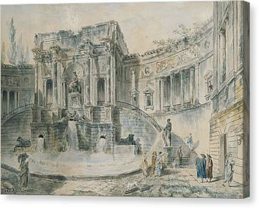 Landscape With Ruins Watercolour Canvas Print by Hubert Robert