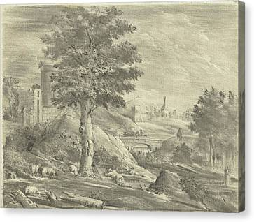 Landscape With Shepherd And Sheep, Jurriaan Cootwijck Canvas Print by Jurriaan Cootwijck