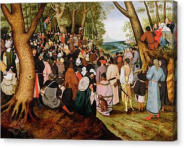 Landscape With Saint John The Baptist Preaching Canvas Print by Pieter the Younger Brueghel