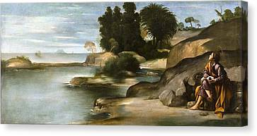 St John The Evangelist Canvas Print - Landscape With St John The Evangelist by Juan Bautista Maino