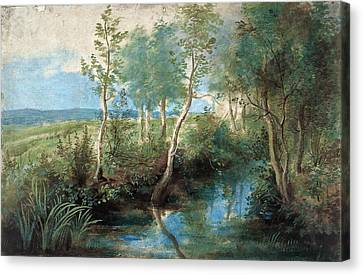 Landscape With Stream Overhung With Trees Canvas Print