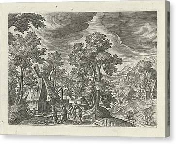 Landscape With The Good Samaritan And The Injured Passenger Canvas Print by Julius Goltzius And Hans Bol And J. Janssonius