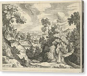 Landscape With The Good Samaritan, Print Maker Johann Canvas Print by Johann Sadeler I And Hans Bol