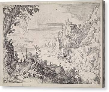 Landscape With The Good Samaritan, Willem Van Nieulandt II Canvas Print by Willem Van Nieulandt (ii) And Paul Bril