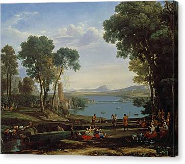 Landscape With The Marriage Of Isaac And Rebekah The Mill 1648 Oil On Canvas Canvas Print by Claude Lorrain