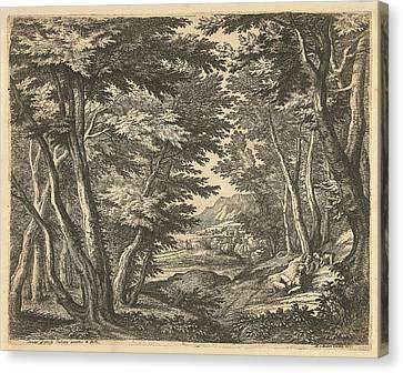 Landscape With Three Men In A Clearing In The Forest Canvas Print
