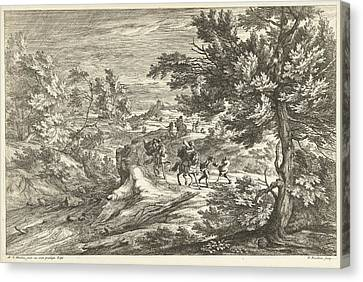 Landscape With Travelers Surprised By Storm Canvas Print by Adriaen Frans Boudewyns And Adam Frans Van Der Meulen