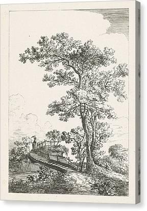 City Scape Canvas Print - Landscape With Trees And Bridge, Louis Jacopsen by Louis Jacopsen