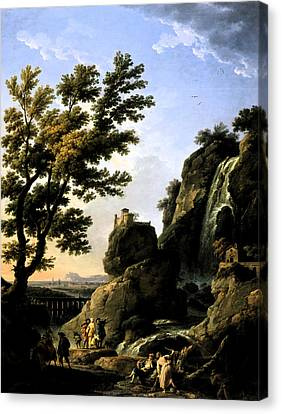 Canvas Print featuring the digital art Landscape With Waterfall by Joseph Vernet
