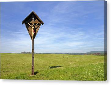 Wayside Cross Canvas Print - Landscape With Wayside Crucifix by Matthias Hauser