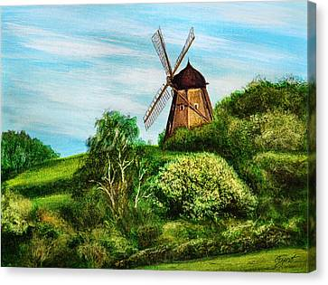 Landscape With Windmill Canvas Print by Gynt Art