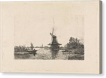 Rowboat Canvas Print - Landscape With Windmills And A Rowboat, The Netherlands by Elias Stark