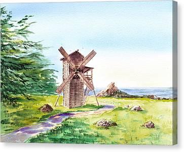 Landscapes Of California Fort Ross Windmill Canvas Print by Irina Sztukowski