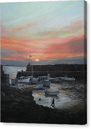 Lanes Cove Sunset Canvas Print by Eileen Patten Oliver