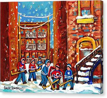 Laneway Hockey Game Montreal Paintings Winter Fun In The City Carole Spandau Canvas Print by Carole Spandau