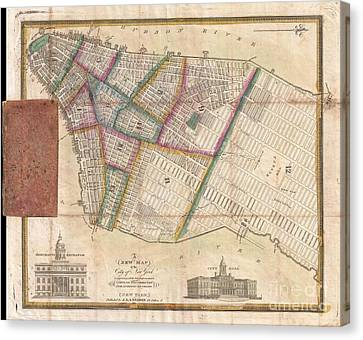 Langdon Pocket Map Of New York City Canvas Print by Paul Fearn