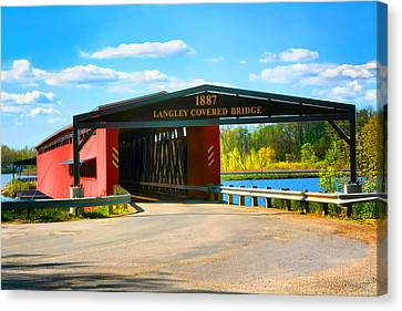 Langley Covered Bridge - Michigan Canvas Print by Pat Cook