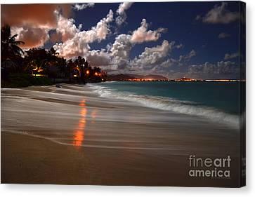 Lanikai Beach At Night View Of Kailua Bay  Canvas Print by Aloha Art