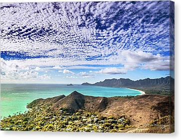 Canvas Print featuring the photograph Lanikai Beach Cirrocumulus Clouds by Aloha Art
