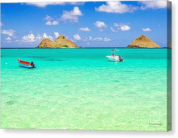 Canvas Print featuring the photograph Lanikai Beach Two Boats And Two Mokes by Aloha Art