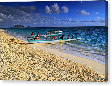 Canvas Print featuring the photograph Lanikai Catamarans In The Morning by Aloha Art