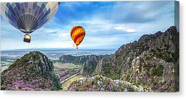 Huahin Canvas Print - Lanscape Of Mountain And Balloon by Anek Suwannaphoom