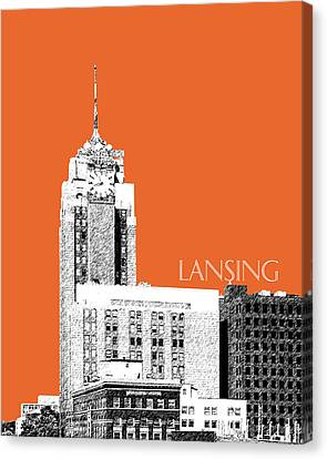 Lansing Michigan Skyline - Coral Canvas Print by DB Artist