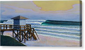 Woodcarving Canvas Print - Lantana Lifeguard Stand by Nathan Ledyard