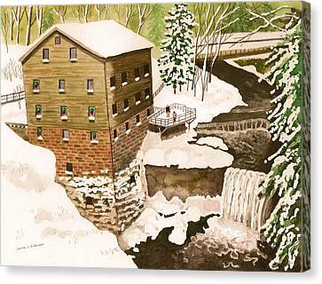 Lantermans Mill In Winter - Mill Creek Park Canvas Print by Laurie Anderson