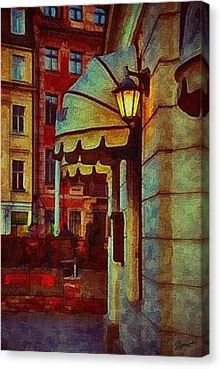Lantern At The Cafe Canvas Print by Gynt
