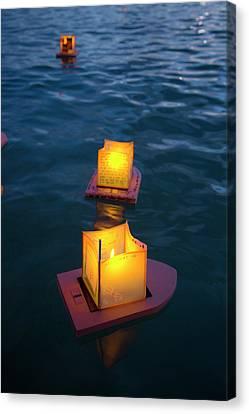 Lantern Floating Festival, Memorial Canvas Print by Douglas Peebles