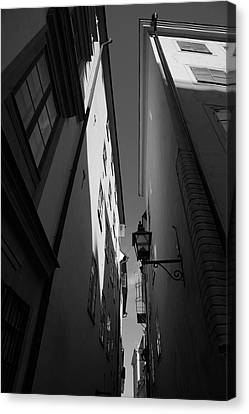 Lantern In A Narrow Alley - Monochrome Canvas Print by Ulrich Kunst And Bettina Scheidulin